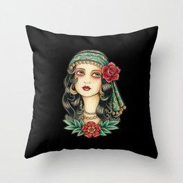 Gipsy tattoo Throw Pillow