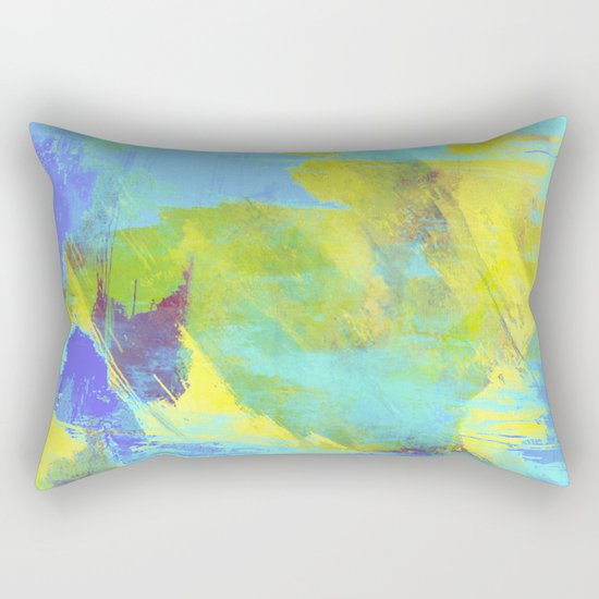 Hint Of Summer - Abstract, textured painting Rectangular Pillow