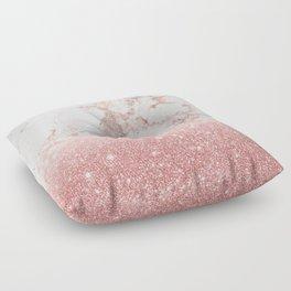 Elegant Faux Rose Gold Glitter White Marble Ombre Floor Pillow