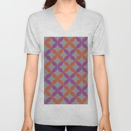 Purple Gray Orange Minimal Flower Pattern V12 2021 Color of the Year Ultimate Gray & Accent Shades Unisex V-Neck