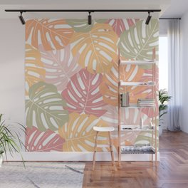Monstera leaves Colorful Jungle leaves Palm leaves Tropical art Wall Mural
