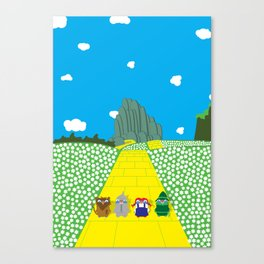 Pengwins that are following a brick road that is yellow Canvas Print