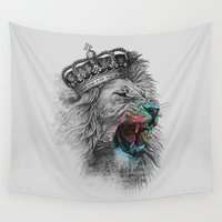 the lion king Wall Tapestries featuring King Lion by clingcling