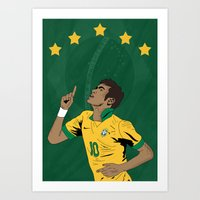 neymar Art Prints featuring Neymar by Little Aig