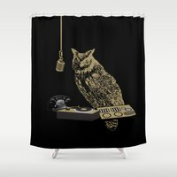 radio Shower Curtains featuring Radio Owl by October's Very Own
