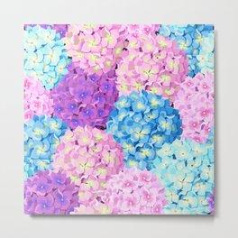 Purple & Blue Hydrangeas Metal Print