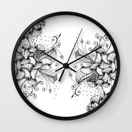 Floral Abstract Ink Art Wall Clock