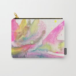 Spring feathers in Pink - abstract in Japanese watercolor and mineral pigments Carry-All Pouch