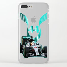 Lewis Hamilton F1 with LH 2016 44 car Clear iPhone Case