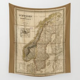 Map of Sweden and Norway (1847) Wall Tapestry