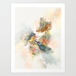 Chasing Birds #watercolor #birds #society6 Art Print