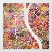 budapest Canvas Prints featuring Budapest  by MapMapMaps.Watercolors