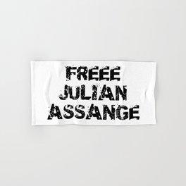 Free Julian Assange Black Grunge Hand & Bath Towel