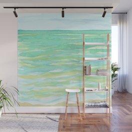 Ocean Mint watercolor seascape mint green Wall Mural