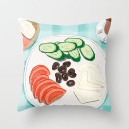 Fresh Home-cooked Turkish Breakfast Throw Pillow
