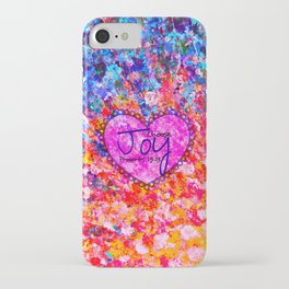 CHOOSE JOY Christian Art Abstract Painting Typography Happy Colorful Splash Heart Proverbs Scripture iPhone Case