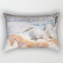 Horses Dancing Under A Winter Full Moon Rectangular Pillow