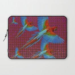 TROPICAL BLUE MACAWS MAROON-BROWN ART Laptop Sleeve