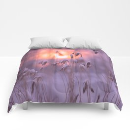 Snowy Reeds Sunset Purple Tone #decor #society6 #homedecor #buyart Comforters