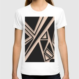 Nude and black geometric shapes T-shirt