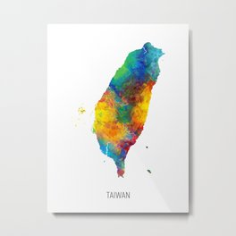 Taiwan Watercolor Map Metal Print