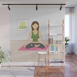 Yoga Girl In Lotus Pose Cartoon Illustration Wall Mural