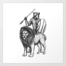 African Warrior Spear Lion Tattoo Art Print