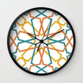 Orange Yellow Turquoise Geometric Tile Pattern Wall Clock