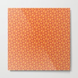 Orange Slice Hexies Metal Print