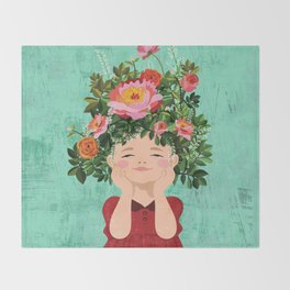 Spring Flower Girl Throw Blanket