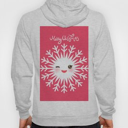 Merry Christmas card design Kawaii white snowflake funny face with eyes and red cheeks on pink Hoody