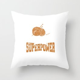 Crocheters Superpower Funny Crochet Gifts  Throw Pillow
