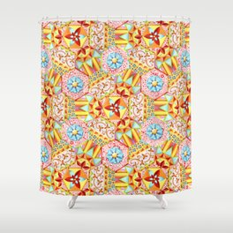 Pink Paisley Hexagons Shower Curtain