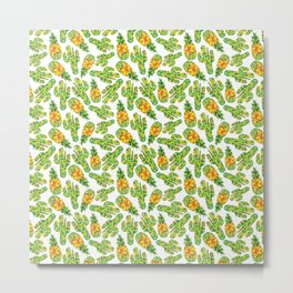 Cactus & Pineapple Metal Print