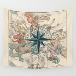 Compass Graphic with an ancient Constellation Map Wall Tapestry