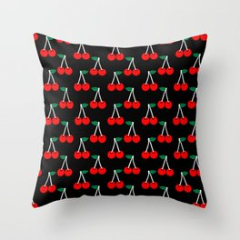 Cheri - valentines day love pattern print black and red romantic iphone6 case custom red cherries Throw Pillow