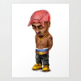 Pac, gangster rap, mini icon. Art Print