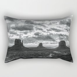 Southwest Wanderlust - Monument Valley Sunrise Black and White Rectangular Pillow