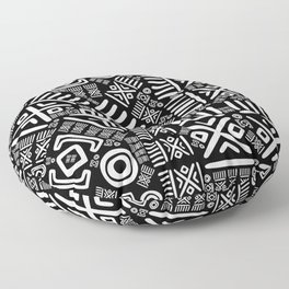 Ethnic African Pattern- Black and White #6 Floor Pillow