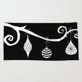 Burtonesque Branch with Ornaments 1 / White on Black Beach Towel