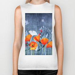 Summer night- Shadow of a Poppy meadow- Flowers Biker Tank