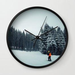 boy skiing Wall Clock