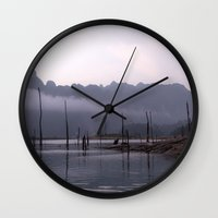 grey Wall Clocks featuring Grey by Armine Nersisian