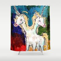 rare Shower Curtains featuring The Rare Bicorn by Taylor Winder