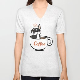 Frenchie, in a Coffee Mug Unisex V-Neck