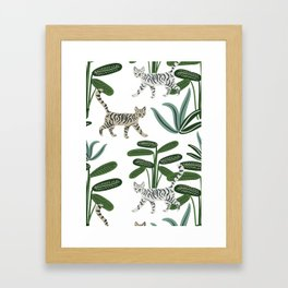 Cats and tropical plants in the jungle Framed Art Print