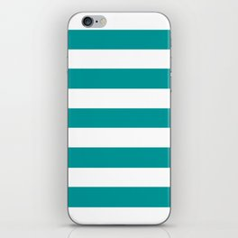 Viridian green - solid color - white stripes pattern iPhone Skin