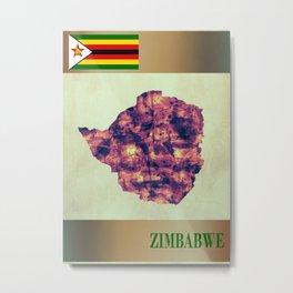 Zimbabwe Map with Flag Metal Print