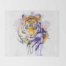 Tiger Head Portrait Throw Blanket