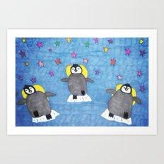 Floating Penguins Art Print